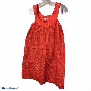 Shoshannah orange coral pin tuck baby doll dress S